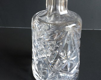 Pinwheel and Star Cut Glass Decanter - No Stopper