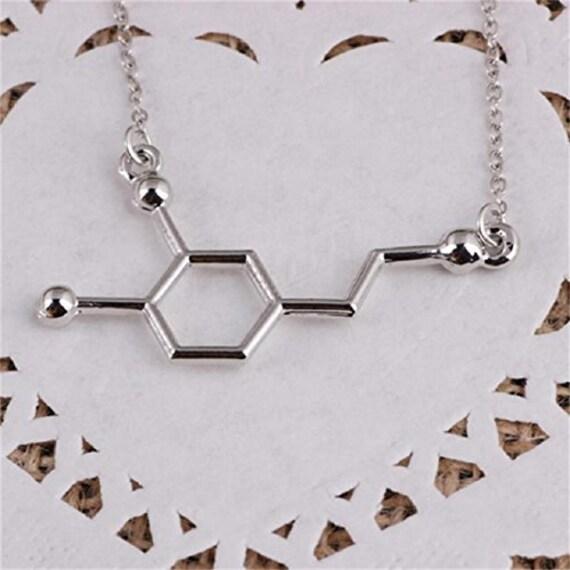 Dopamine Molecule Necklace: Dopamine Molecule Necklace DNA NecklaceMolecule By