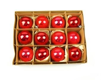 "Fantasia 2"" Christmas Ornaments Set Glass Small Miniature Tree Ornament Red Christmass Xmas X'mas Box Dozen"