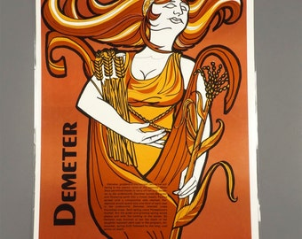 1972 Demeter Poster Greek Mythology Laminate The Perfection Form Company