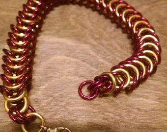 Garnet and Gold Box Chain Bracelet