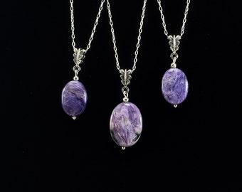 Charoite Pendant Necklace/ Charoite/ rare/ purple/ gemstone/ pendant/ necklace/ Haute Couture/ Jewelry