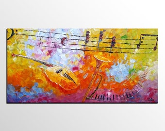 Abstract Painting, Original Painting, Large Painting, Oil Painting, Canvas Art, Abstract Art, Large Art, Wall Art, Violin Painting, Music
