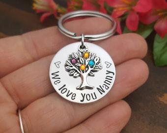 Personalized Nanny Keychain | Gifts For Nanny | Thank you Gift For Nanny | Birthstone Keychain For Grandma | Nanny Appreciation Gift | Nanny
