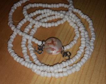 OM Double Charmed White Waist Beads (earring set optional)