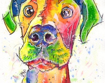 Great DANE PRINT Picture of Original Watercolour Painting Watercolor Hound Dog Painting Puppy Animal Artwork Art by Josie P.