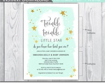 twinkle twinkle baby shower invitation / twinkle twinkle little star baby shower invitation / twinkle twinkle little star invitation INSTANT
