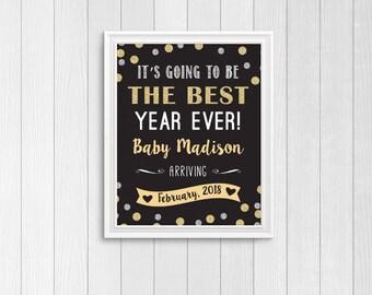 New Year's pregnancy announcement chalkboard, New Year's pregnancy announcement, New Year's pregnancy announcement sign, birth announcement