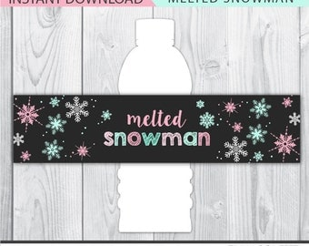 melted snowman label, melted snowman water bottle labels, winter onederland decor, winter birthday printable, winter onederland decoration