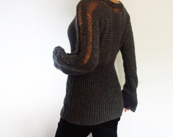 Knitting Pattern - Slim Thumb Hole Sweater/ Long Hand Knit Pullover/Drop Stitch Design