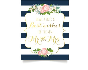 The KELLY . Guestbook Sign Best Wishes Mr & Mrs . Navy Blue Stripe Gold Calligraphy White Rose Pink Blush Peony Dusty Miller .  Print or PDF