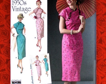 Simplicity Sewing Pattern 8244 Cheongsam Dress, 1950's Asian-Style Fashion, Sizes 14 16 18 20 22, Retro Special Occasion Summer Party, UNCUT