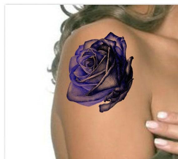 tatouage temporaire rose bleu fleur noire ultra mince r aliste. Black Bedroom Furniture Sets. Home Design Ideas