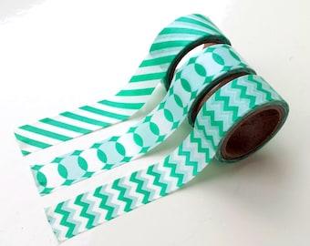 Set of 3 washi tapes, green