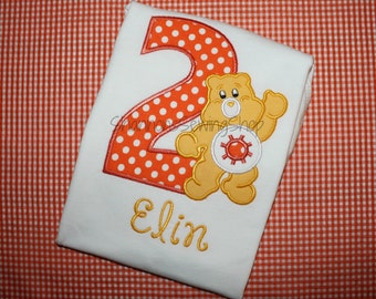 Care Bear Birthday Shirt, Funshine Care Bear, Orange Care Bear
