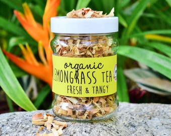 Organic Lemongrass Tea in a JAR 50g - ultimate detoxifier / Herbal Tea /Organic Fairtrade Tea / Naturally Sourced / Flower Tea / Organic Tea