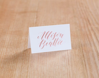 Rose Gold Ink Calligraphy Place Cards