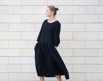 Long elegant linen pleated dress with side pockets and long sleeves. Long dress.