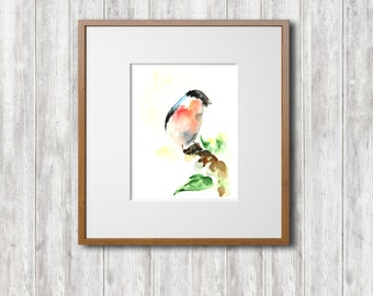 Bird Art Print, Bullfinch Bird Watercolor Painting Art Print, Watercolour Bird Wall Art