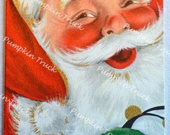 Vintage Christmas Card - Jolly Santa Claus - Unused