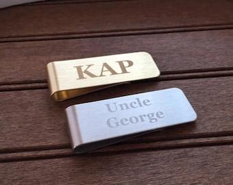 Engraved Men's Custom Money Clip Name or Monogram Stainless Steel