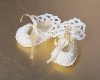 Crochet Christening Baby Booties, Baby Shoes, Baby Booties,  Crochet Baby Booties, first booties