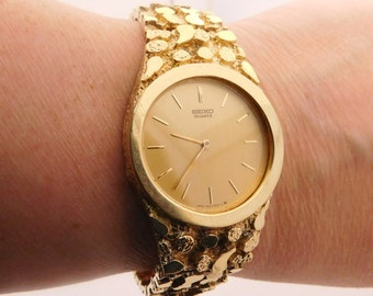 Man's Seiko 14K Yellow Gold Nugget Watch 8 Inches