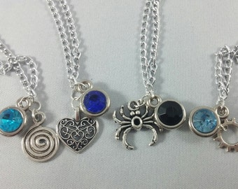 Red Vs Blue Inspired Mini Jewel & Charm Necklaces / Blue Team - Church, Tucker, Caboose, Tex