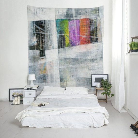 Gray Tapestry, Original Art, Printed Tapestry, Home Decorations, Large Wall Art, Abstract Tapestry