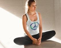 Acid Test Peace racerback tank long torso lightweight tie dye peace sign peace symbol yoga pilates athleisure bold graphic sportswear