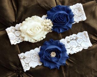 SOMETHING BLUE Wedding Garter Set, Bridal Garter, Ivory Lace Garter, Royal Blue Garter, Something Blue Garter, Blue Wedding Garter