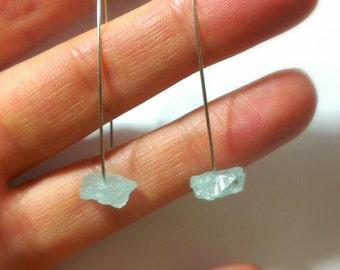 Rough Aquamarine Earrings, Raw Stone Earrings, Threader Earrings, Raw Aquamarine, Stainless Steel Earrings, Minimalist Earrings Gift for her
