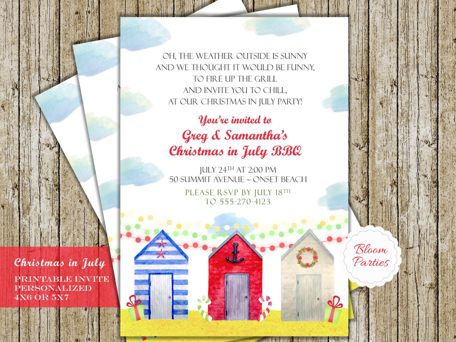 christmas in july party invitation pool party beach party bbq
