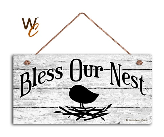 Bless Our Nest Sign Door Sign Shabby White Wood Background