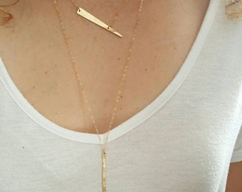 Gold Y Necklace, Moonstone, Long Gold Necklace, 14 K Gold Filled, Drop Necklace