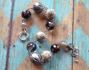 Tan Beaded Bracelet, Beaded Bracelet, Beaded Jewelry, Dangle Bracelet, Tan Bracelet, Gift For Her, Trending Item, Statement Bracelet