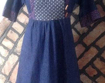 1970s, Boho, Folk, festival Denim Tunic Dress, size 12-14 (uk)