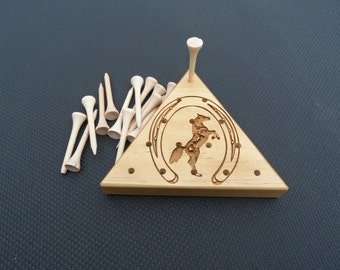 Rustic Wooden Peg Game - Horse Rearing & Horseshoe