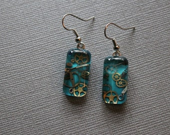 watch part earrings - rectangular shaped glass bits of time