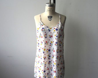 White Floral 90s Slip Dress