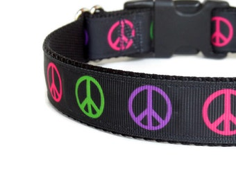Peace Signs Dog Collar - Green, Pink, Purple, & Black - Hippie (Buckle or Martingale)