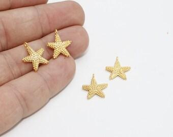 2 Pcs 24k Gold Plated Starfish, Starfish Charms, Sea Animals, Starfish Pendant, 13x16mm , BRT601