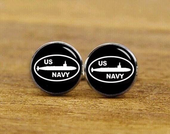 US Navy Cufflinks, Custom Army Symbol Cufflinks, Nuclear Submarine Cufflinks, SSBN, A-submarine Cufflinks, Submarine Force, Groom Cufflinks