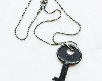 Vintage Black Corbin Key Necklace on Ball Chain