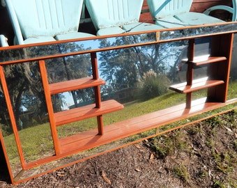 Mid Century X-Large Wooden Shadowbox Wall Mirror Headboard 68 inches long x 25 inches tall
