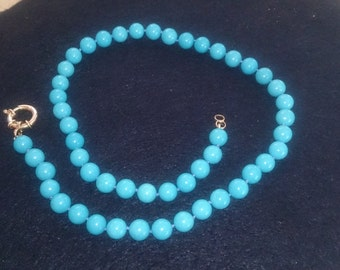 Natural Turquoise 8 mm Bead Necklace