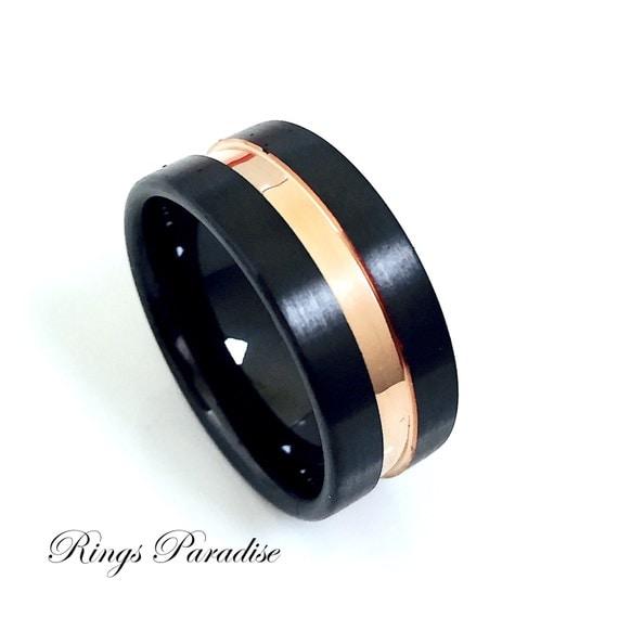 Rose Gold Ring Ceramic Ring Mens Ceramic Wedding Band