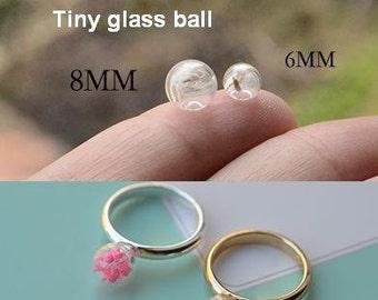 6mm 8mm Tiny Glass Bubble Ball, Glass ball necklace pendant, Jewelry Pendant Kit
