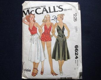 1979 Strappy Playsuit & Wrap Skirt Uncut Vintage Pattern, McCalls Carefree Krizia 6624, Size 14, Bust 36