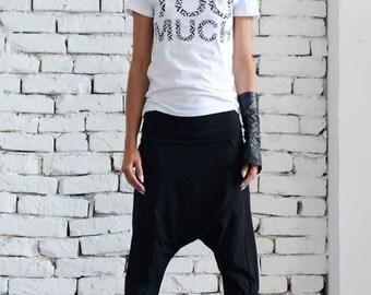 Goutte noire entrejambe pantalon/Extravagant lâche Shorts/Black Harem Pants/Plus taille Maxi pantalon/Casual Yoga Pants/Black entraînement, pantalons